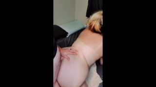 Chubby milf fucked in ass dildo in pussy