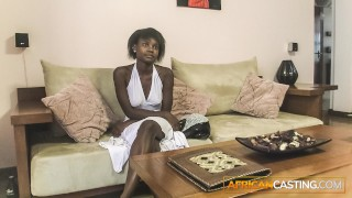Petite ebony rides producer cock mid casting