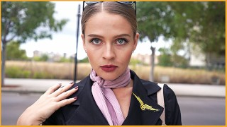 Horny Flight Attendant seduced me - I fucked her and Cum on Face 4K - KateKravets