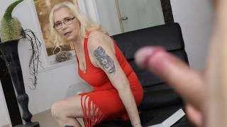 MATURE4K. Mature blonde grabs thick penis and has a lot of fun with it