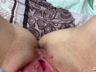 I entertain my pussy after work with a pink vibrator while alone at home and finish with
