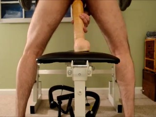 Gay uncut cock Riding Doc Johnson Hung dildo in my ass Huge cock ass stretching