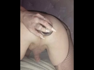 Shemale dope whore oozes cum from gaped asshole...
