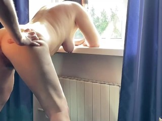 Anal slave got a orgasm with squirt standing...