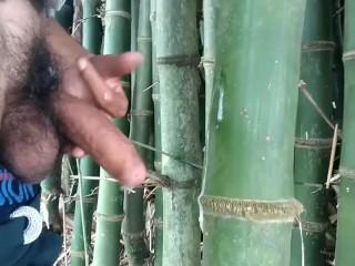 Cumming on bamboo handjob cumshot...