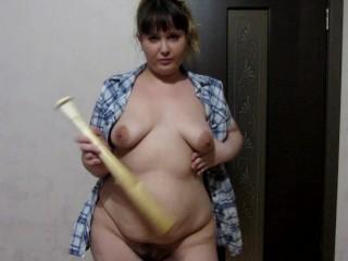 Hard a baseball bat mature bbw milf...