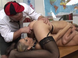 Teacher and students having hot rough...