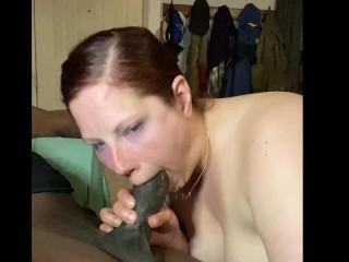 Nasty mystic ginger sucks cock...