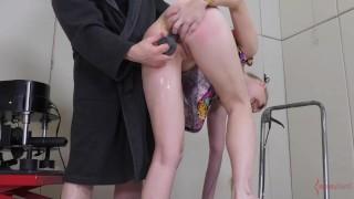 Asslicking blonde spanked hard by machine