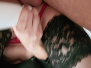 the boss fucked hard in the throat of the secretary right in the office. creampie. cool blowjob