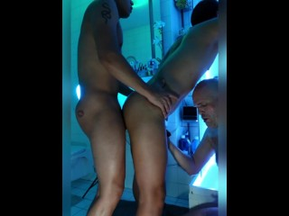 Horny bathroom twink hunk threesome fun...