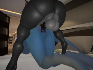 Furry booty loves taking a thick dick 3d...