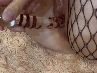 Testing a new sex toy to orgasm