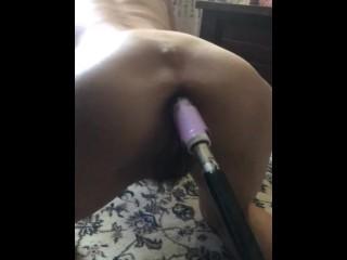 Butthole stuffed with machine anal dildo...