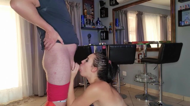 When dirty whore gives delivery guy blowjob to pay for her pizza  cumshot in mouth  roleplay 20