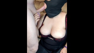 Horny step mom sucks sons cock with cum on her face