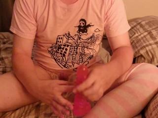 Femboy milks himself, uses dildo in thigh highs