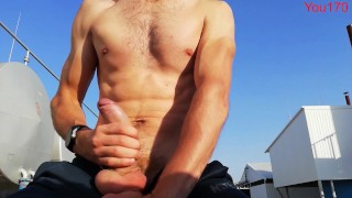 It is very scary to jerk off your big dick in the street and undress showing your perfect body