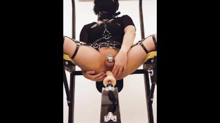 Sissy getting suspended and anally drilled whilst watching VR