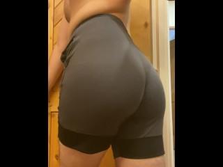 Boy rubs tight shorts...