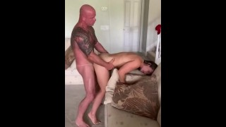 Friend watches while muscular babe with big titties takes her muscular cucks big cock and moans loud