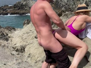 Horny beach day turns to fuck fest at...
