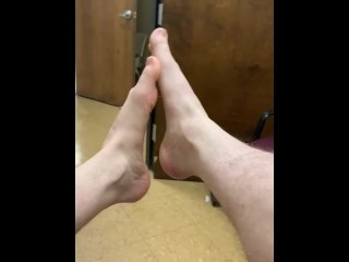 Foot play otter feet hairy legs taking shoes...