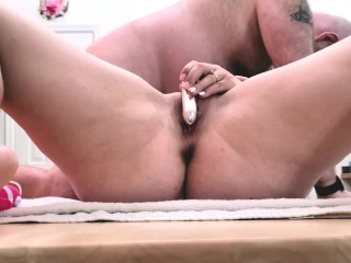 Ava and sucks old man cock...