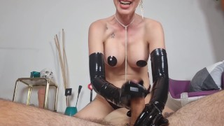 Femdom Barebreast JOI with Latex Gloves in POV