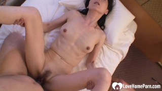 Asian mom helps her stepson with sex learning