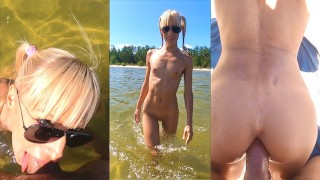 Hard dick feels alright in the blond ass | Saliva Bunny does deepthroat and anal on the beach