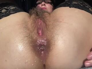 Hairy training milf gaping pov...