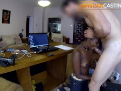 Black Office Sub Slut Gets a Sloppy Throat Fuck
