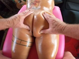 Big titty latina gets oil massagethen sucks and...