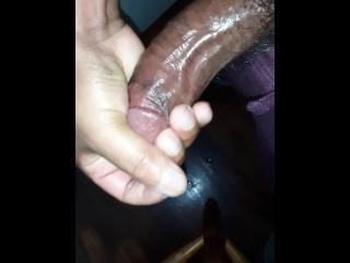 Masturbating my oily cock...
