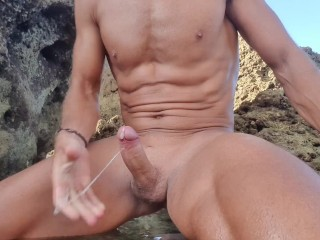Man with beautiful body masturbating...
