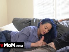 Blue Haired Buxom Milf Makes All Of Her Step Son's Kinky Sex Fantasies Come True When They Are Alone