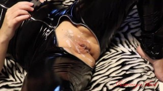 Chastity cage cuckold slave licks cleans my gangbanged pussy full of cum