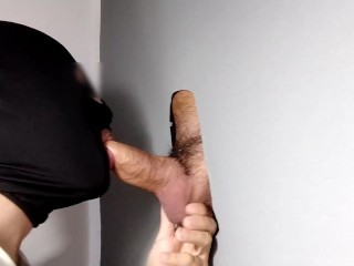 Boy with balls full of protein comes to gloryhole, cumshot abundantly