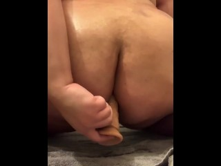 Sneaks into bathroom for anal...