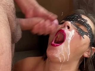 Best swallow homemade throat swallow red lipstick blowjob...