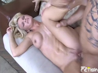 Tattooed guy picks up busty blonde and bangs...