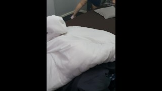 Step mom finds XXL condoms under Step son pillow and get excited making him to fuck her pussy