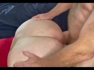 Daddy hammering and shooting in pussy...