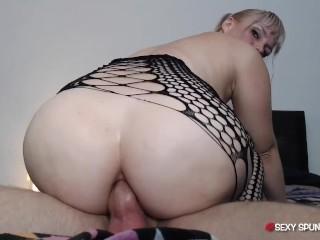 Blonde takes anal riding seriously anal creampie spunky...