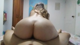 I ride on my friend's cock. He only takes 3 minutes to cum on my ass