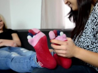 Two sisters foot love and play foot teasing...