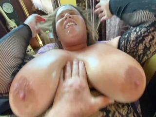 Bbw huge natural tits deepthroats and gets fucked...