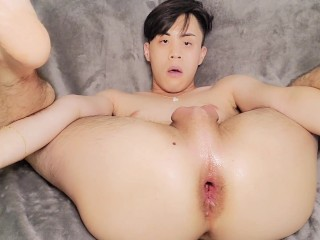 Cute fucking his tight smooth hole with a...
