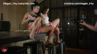 Backstage with two horny girls who have sex with big toys